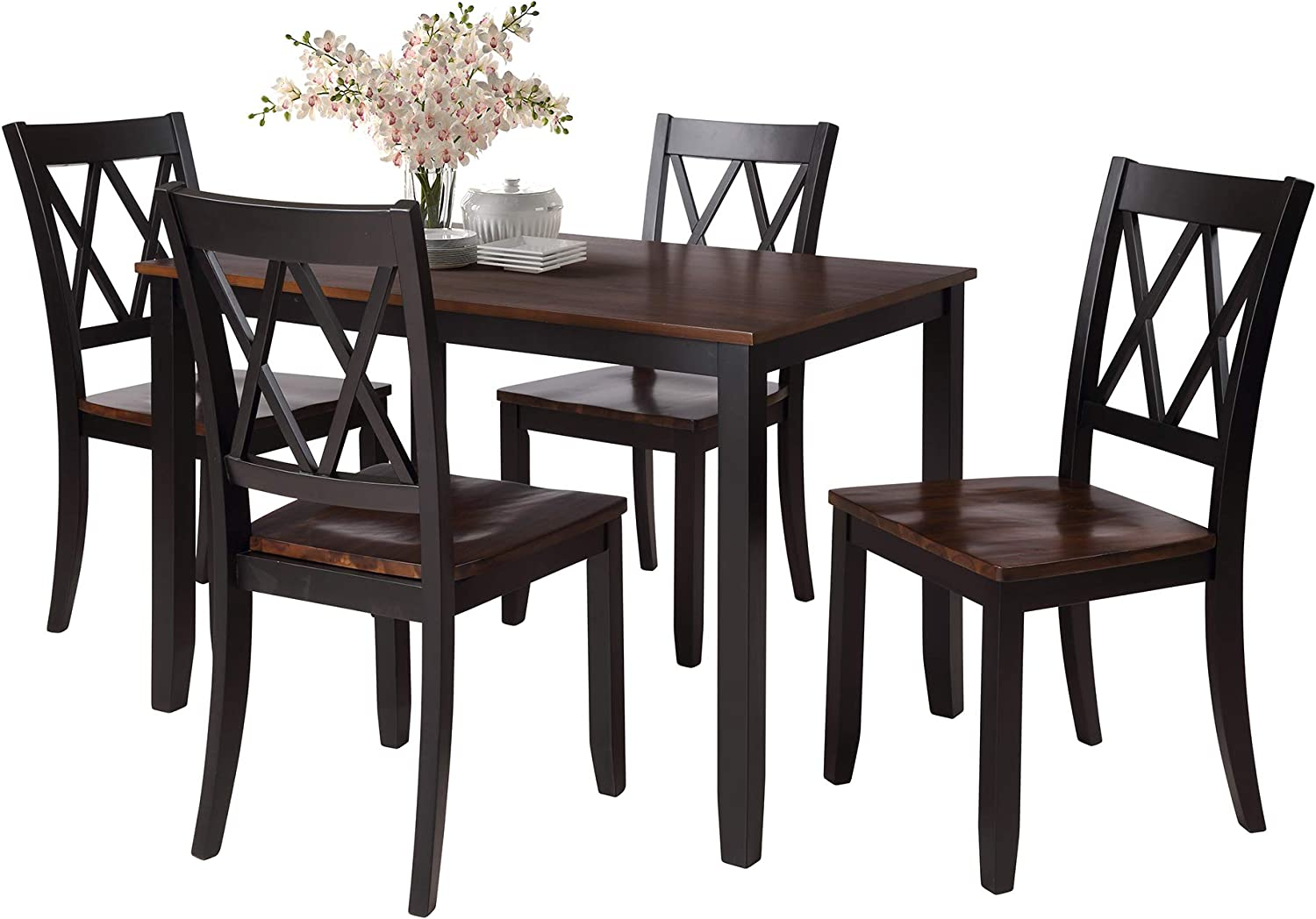 Amazon Com Rhomtree Dining Room Table And Chairs 5pieces Wood Kitchen Dining Set Dinette Set For 4 Person Black Table Chair Sets