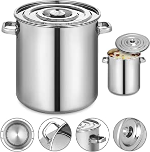 Mophorn Lid 8.5Gal Home Brew and Stock Pot Cookware, 35 Quart