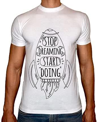 Phoenix WHITE Round Neck Printed T-Shirt Men(Stop Dreaming)