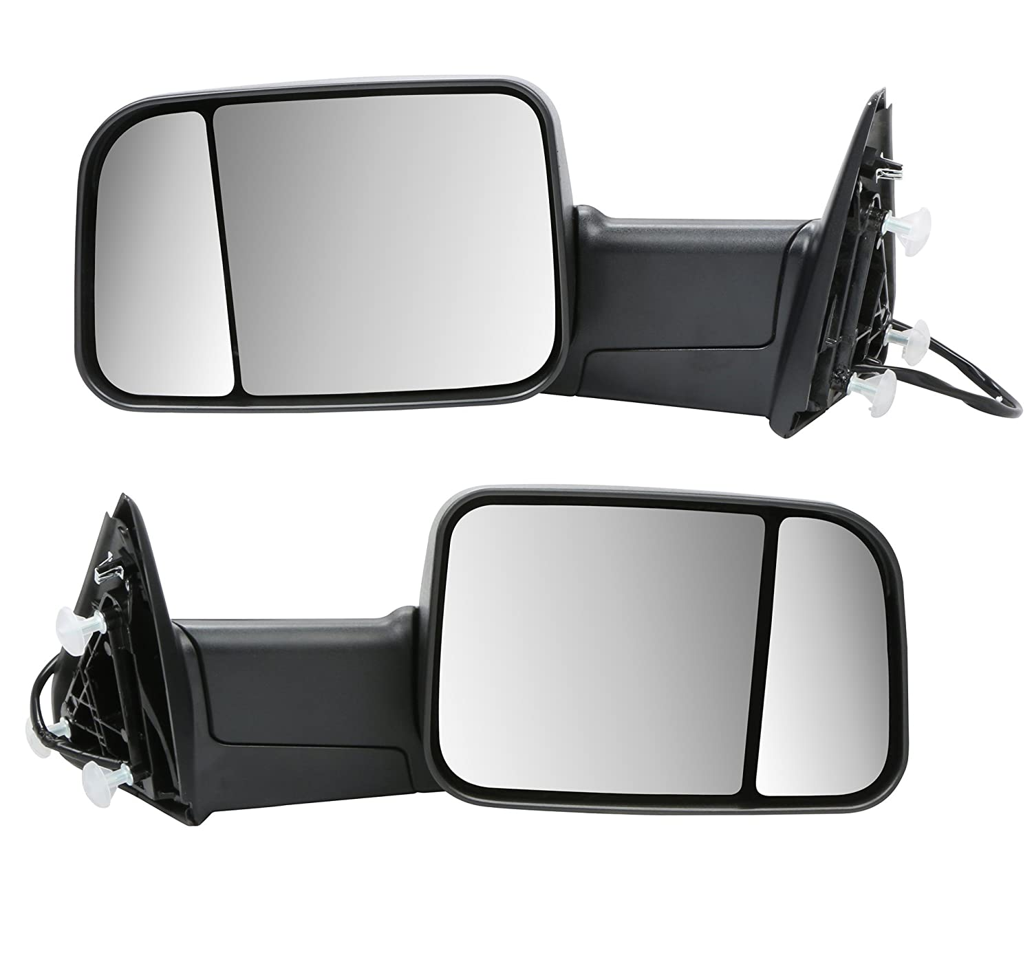 Black MOSTPLUS Power Heated Towing Mirrors for 2009-2012 Ram 1500 2500 3500 Pickup Signal Puddle Lights Pair