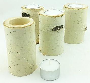 4er Set Teelichthalter Aus Birkenholz Adventskranz Kerzenstander