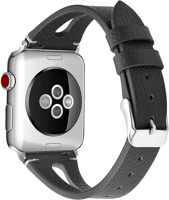 Amazon.com: Kaome - Correa de piel compatible con Apple ...
