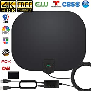 2020 Newest TV Antenna, HD Indoor Digital HDTV Antenna 180 Miles Long Range Antenna with Amplifier Signal Booster 4K HD Free Local Channels Support All Television, 17ft Coax Cable