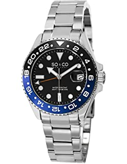 SO&CO New York Mens 5021.3 Yacht Club Stainless Steel Date Luminous Hands and Markers Blue and