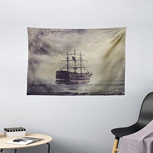 Ambesonne Nautical Tapestry, Old Pirate Ship in The Sea Historical Cruise Retro Voyage Grunge Style Art, Wide Wall Hanging for Bedroom Living Room Dorm, 60 X 40 , Tan Plum