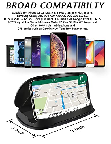 Cell Phone Holder for Car, Car Phone Mount, Durable Dash Windshield Car  Mount Holder Cradle Silicone Pad Mats for iPhone XS Max XR X 8 7 Samsung