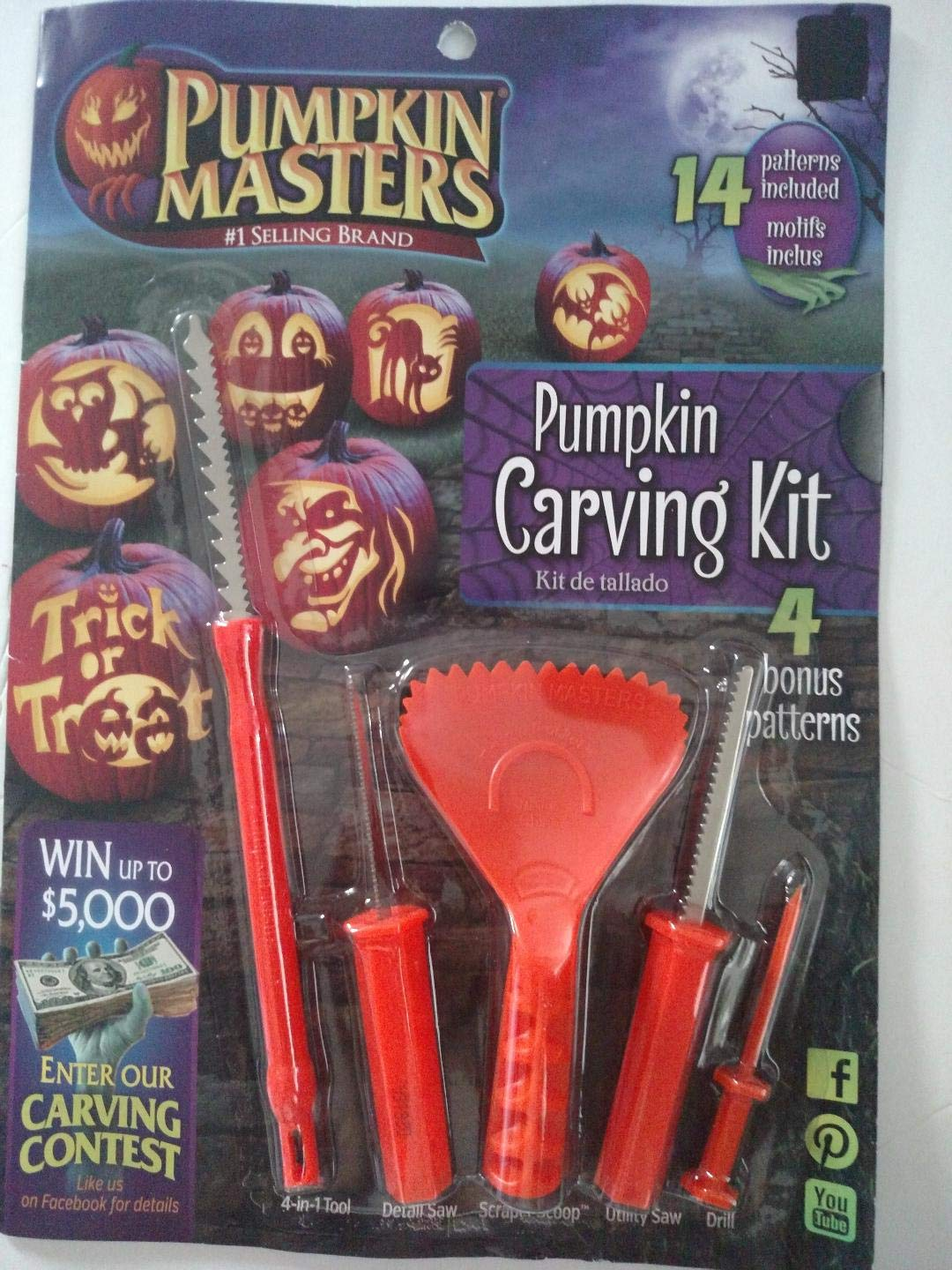 Pumpkin Masters America's Favorite 19 Piece Pumpkin Carving Kit with 14 Patterns and 5 Tools