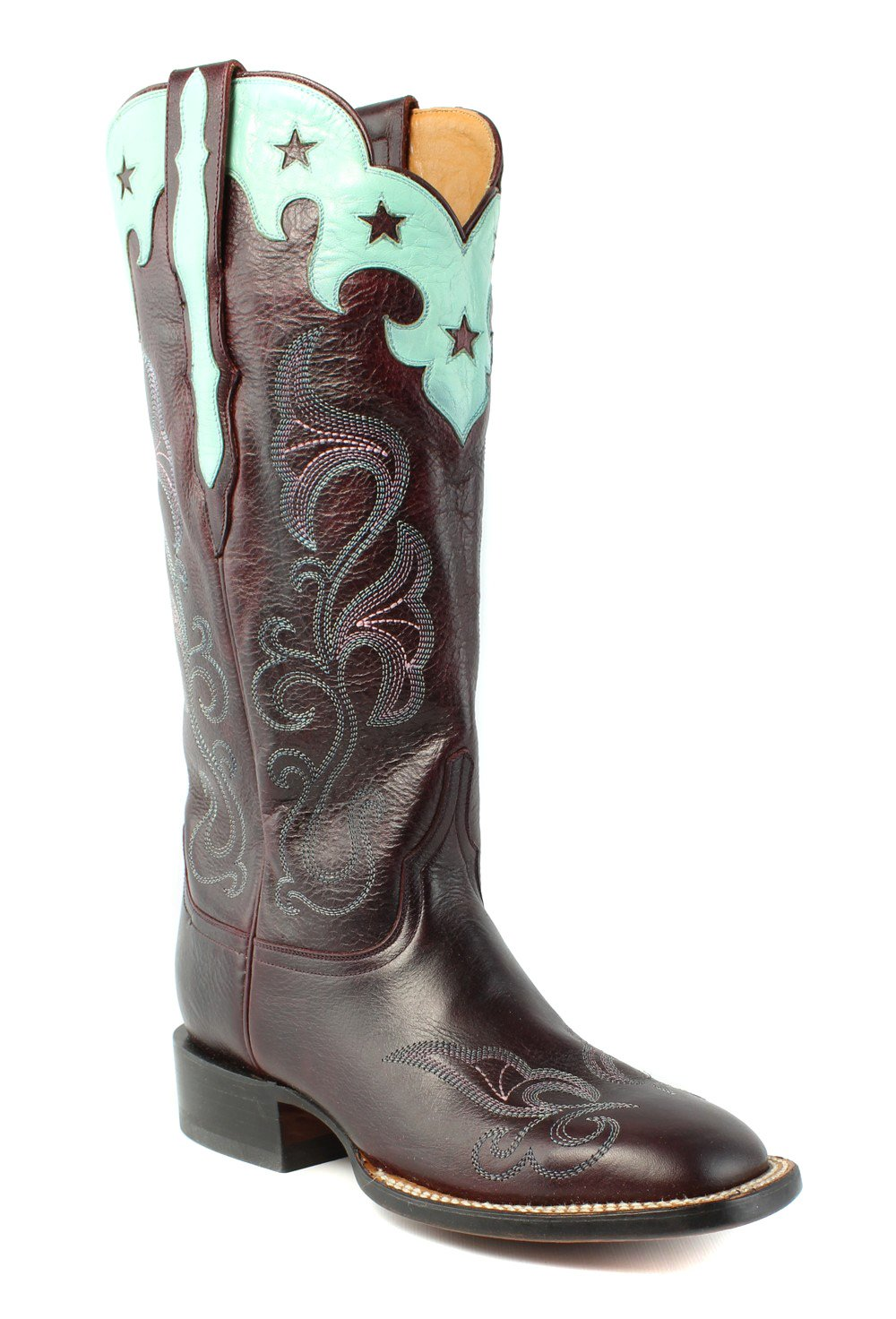 Lucchese Women's Scallop Top Star Western Boot, Burgundy, 8 M US