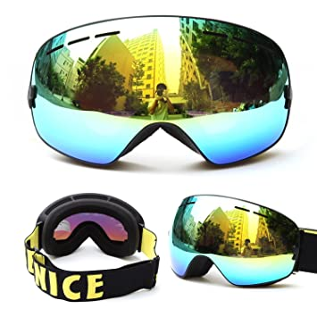 03df8f6b6d5 Evangel Unisex Outdoor Windproof Dustproof Ski Goggles Double Lens Anti-fog  Big Spherical Professional Ski Glasses Mirror Multicolor Snow Goggles  (Frame ...