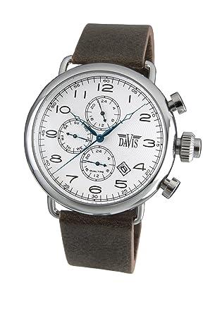 0adec3a9ab0f Davis 1931 - Reloj Piloto Hombre Retro Esfera Blanco Dia y Fecha Hora Dual  Correa de Piel Marrón  Amazon.es  Relojes