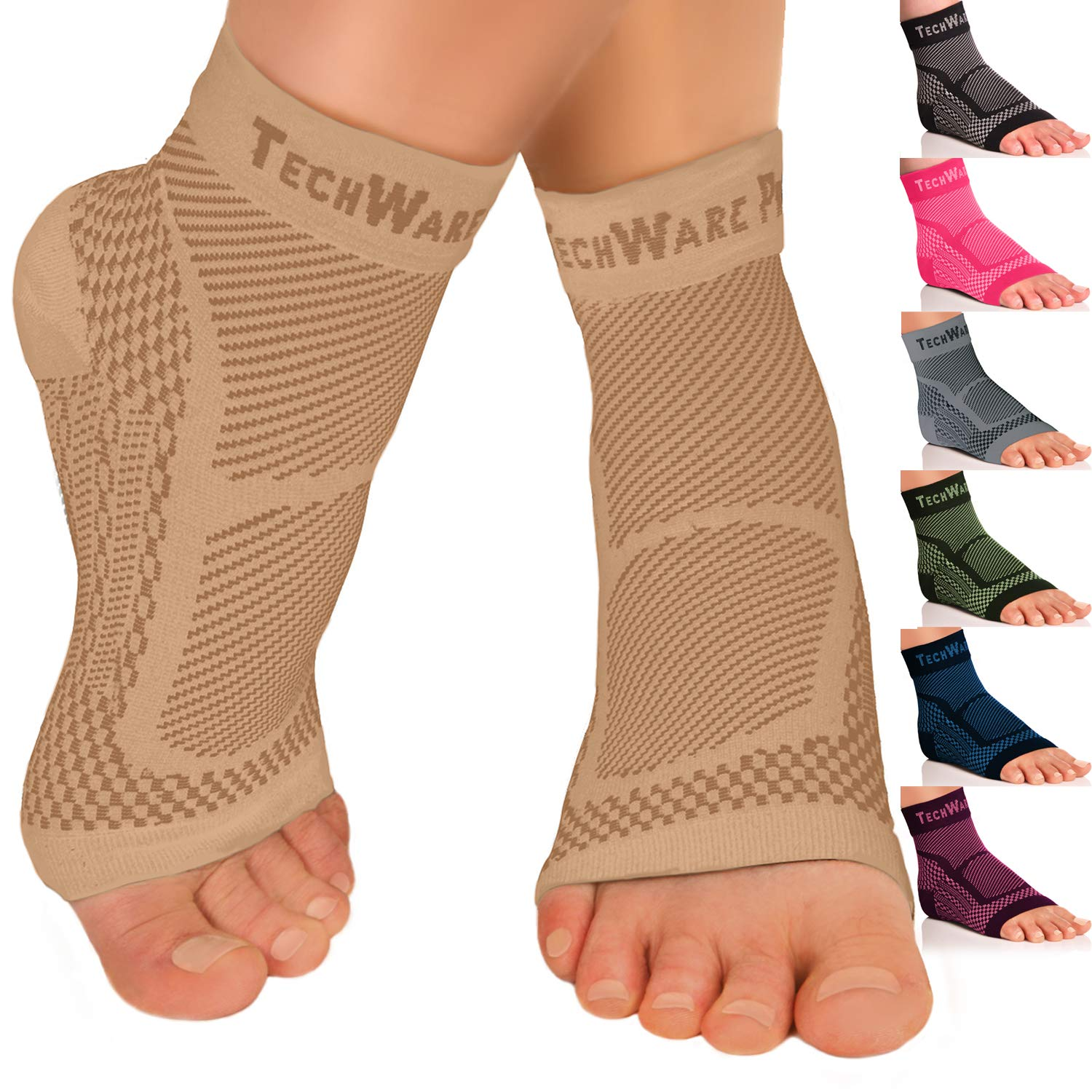 7a3bff86d8 TechWare Pro Ankle Brace Compression Sleeve – Relieves Achilles Tendonitis,  Joint Pain. Plantar Fasciitis Foot Sock Arch Support Reduces Swelling & Heel  ...