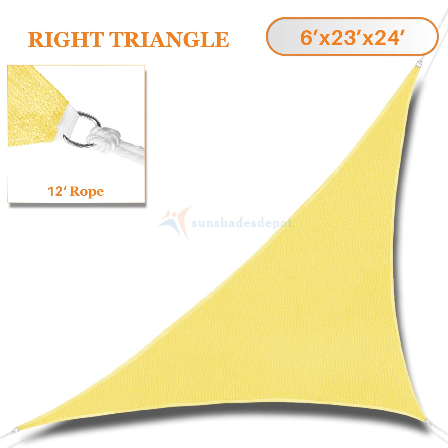 Sunshades Depot 6' x 23' x 24' Canary yellow ( Light Yellow) Sun Shade Sail 180 GSM HDPE Right Triangle Permeable Canopy Custom Size Available Commercial Standard