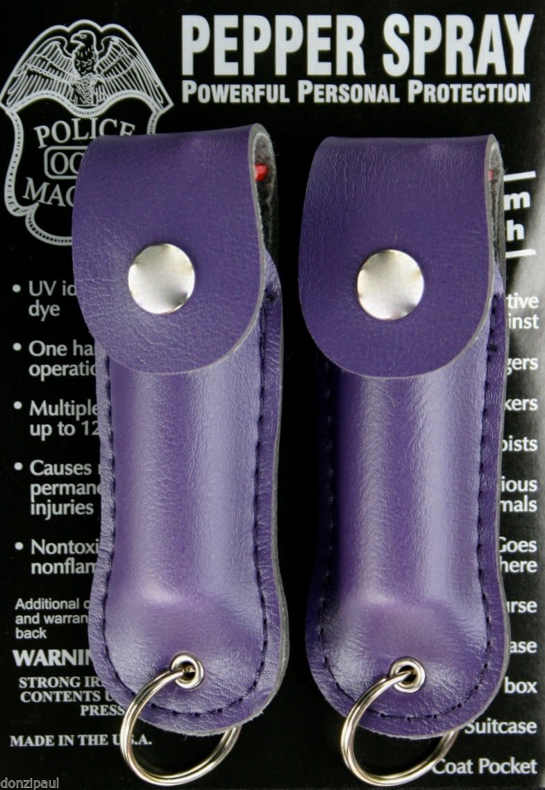 2 PACK POLICE MAGNUM G'STORE MACE PEPPER SPRAY PURPLE KEYCHAIN HOLSTER