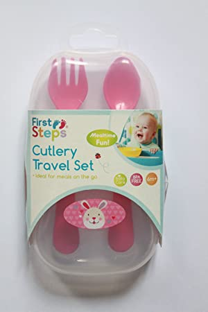 Pink Bunny First Step Jungle Pals Cutlery Travel Set 6months BFA Free Fork Spoon Case