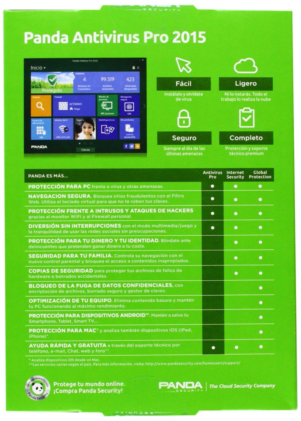 Panda Antivirus Pro 2015 - Software De Seguridad, 1 Licencia: Amazon.es: Software