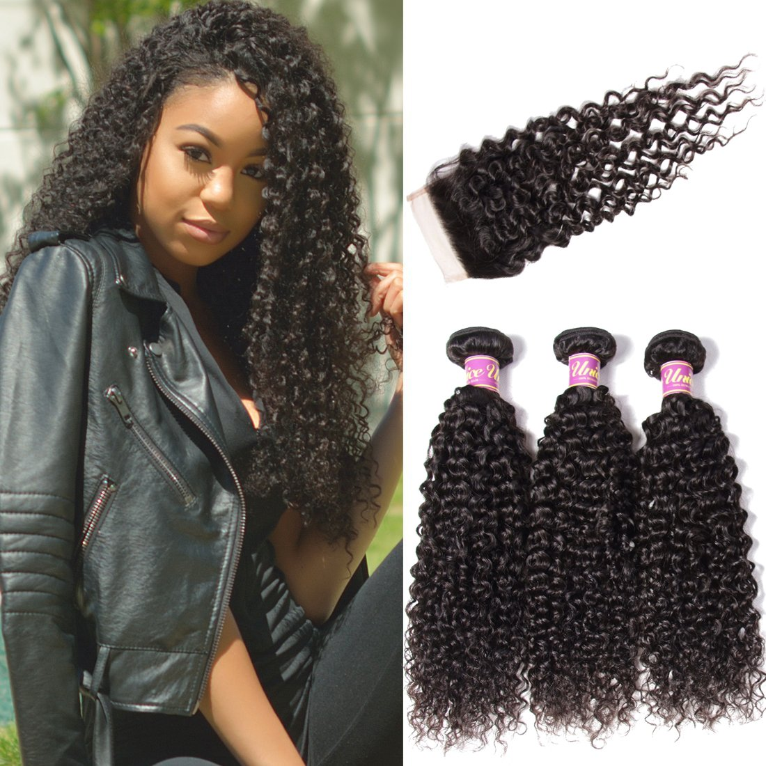 Amazon Brazilian Curly Virgin Hair Weave 3 Bundles Unprocessed