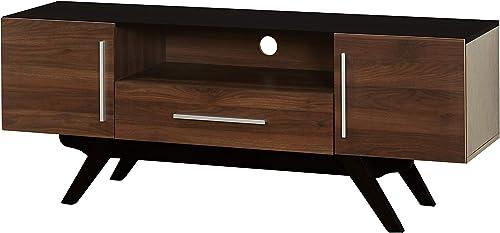 The Mezzanine Shoppe Ashfield Mid Century 2 Door Living Room TV Stand, 59.25 , Black