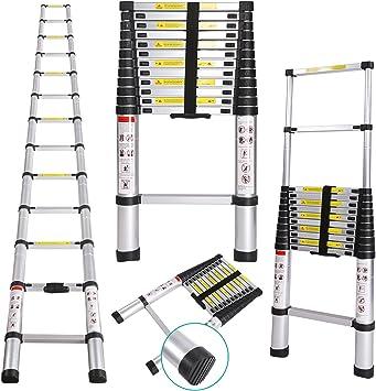 gfone 3.8 m Escalera telescópica de aluminio – Escalera con dedos Ajustes de seguridad 150 kg carga – Escalera de aluminio telescópica (multiusos Escalera escalera extensible plegable: Amazon.es: Bricolaje y herramientas