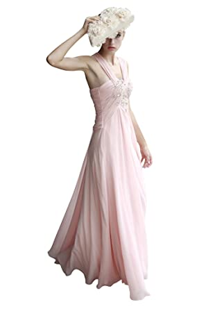 Elliot Claire London Carnation Pink Ruche and Jeweled Evening Dress
