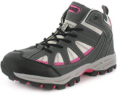 New Womens Ladies Grey Lace Up Synthetic Hiking Walking Boots. - Grey  468515bbe75c