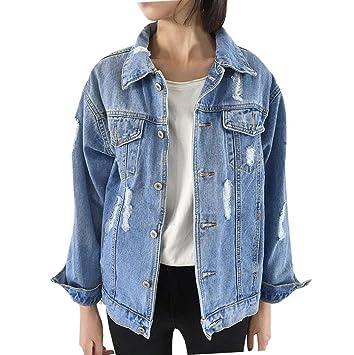 mujer chaqueta vaquera rotos otoño invierno talla grande Sannysis mujeres chaquetas jacket de mezclilla abrigo denim jacket baratos largo jean outwear ...