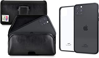 product image for Turtleback Hybrid Case/Holster Combo Designed for New iPhone 11 Pro (2019) 5.8 Inch, Anti-Scratch Ultra Clear Back Protective Case Fitted in Leather Belt Pouch, Executive Belt Clip-Horizonal/Black