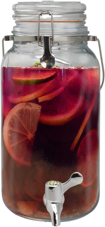 NERTHUS FIH 168 - Dispensador 4 litros, dispensador de bebidas de vidrio con grifo
