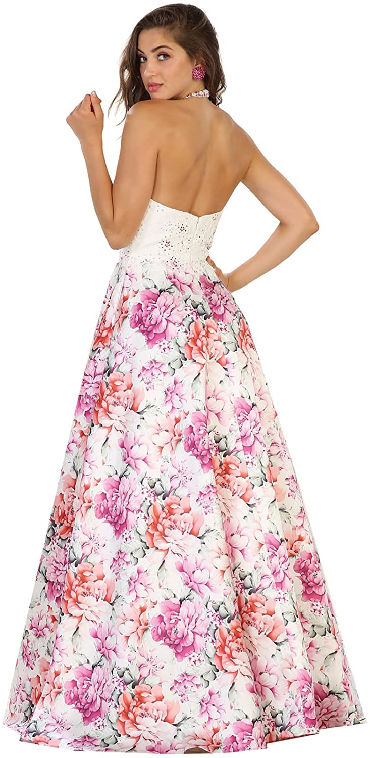 May Queen MQ1525 Floral Print Beauty Pageant Evening Gown - Multicoloured -: Amazon.co.uk: Clothing