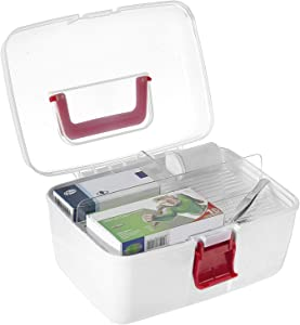 MyGift First Aid Clear Top Portable Storage Travel Kit Box with Removable Tray and Handle, Medical Supplies Box for Business, School, Car or Home