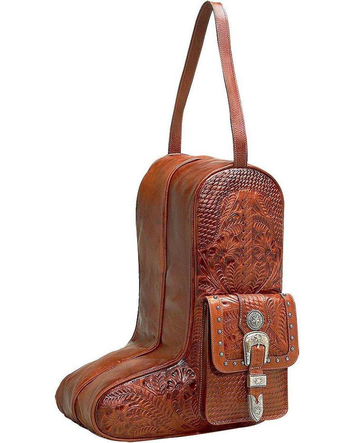 American West Unisex Zip-Around Antique Leather Boot Bag Antique Tan One Size