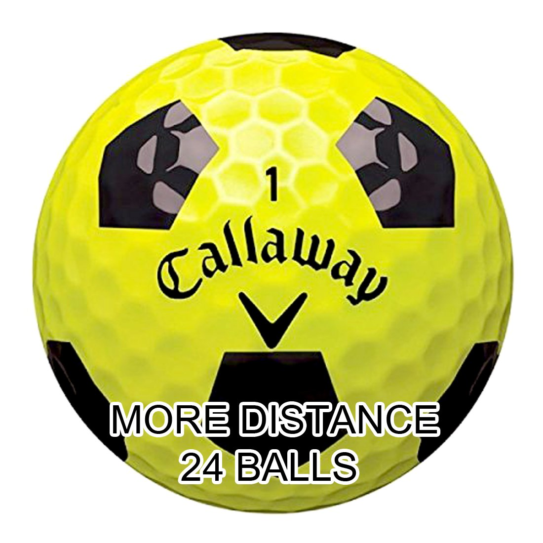 New 2017 Callaway Chrome Soft Golf Balls - Made in the USA ( 12 Pack) Choose your Color (Truvis Black on Yellow (2 Dozens))