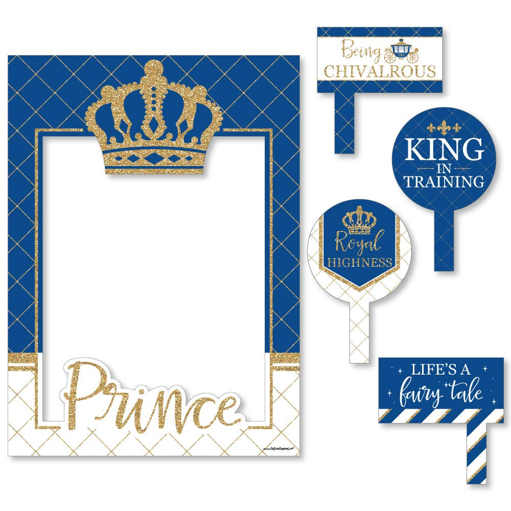 Big Dot of Happiness Royal Prince Charming - Baby Shower or Birthday Party Selfie Photo Booth Picture Frame & Props - Printed on Sturdy Material
