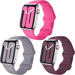 Misker Pack 3 Compatible with Apple Watch Band 38mm 40mm 42mm 44mm,for iWatch Series 5, 4, 3, 2, 1 (001-Barbie Pink/Concrete/Wine, 42mm(44mm)-S/M)