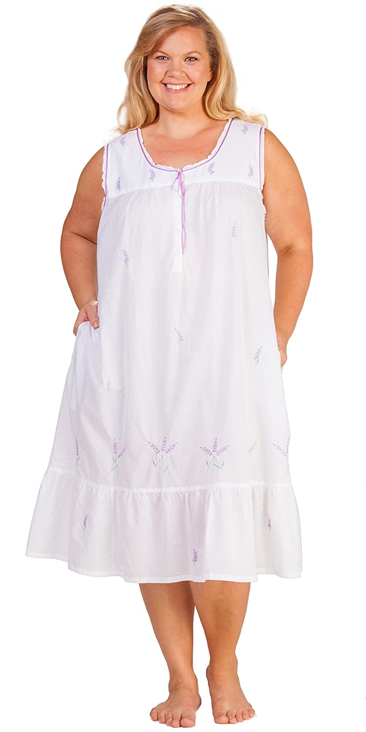 La Cera Plus Sleeveless Long 100% Cotton Lawn Gown in Lavender Grove at  Amazon Women s Clothing store  b1d1dd3ea