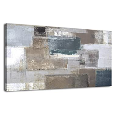 Canvas Wall Art Abstract Painting Beige Long Canvas Pictures Contemporary Wall Art Patch Pattern Design Artwork Sepia Grey Blue for Office Wall Decor Home Decoration Framed Ready to Hang 24  x 48