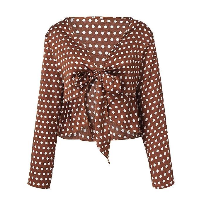 84e7c1551a1c9f HWTOP Boho Bluse Tops T-Shirt Für Damen Oberteil Langarmshirt Hemd T-Shirt  Polka Dot Drucken Sweatshirt Tops Frauen Langärmelige Shirt Cropped V- Ausschnitt ...