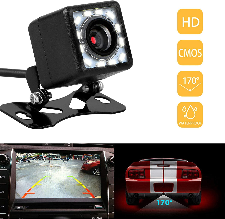 SANON 12LED Universal Car Rear View Camera Waterproof 170 Degree Grand Angle HD Night Vision Car Reverse Parking Backup Camera
