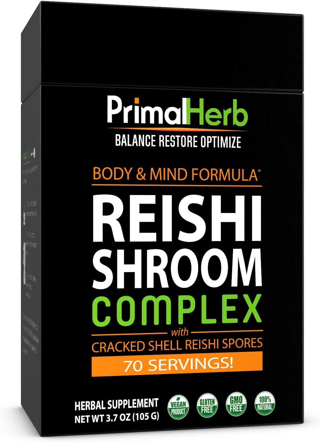 Reishi Mushroom Extract with Reishi Spores by Primal Herb Supports Body Mind Ganoderma Lucidum Extract Powder Formula 70 Servings – Includes Bamboo Spoon