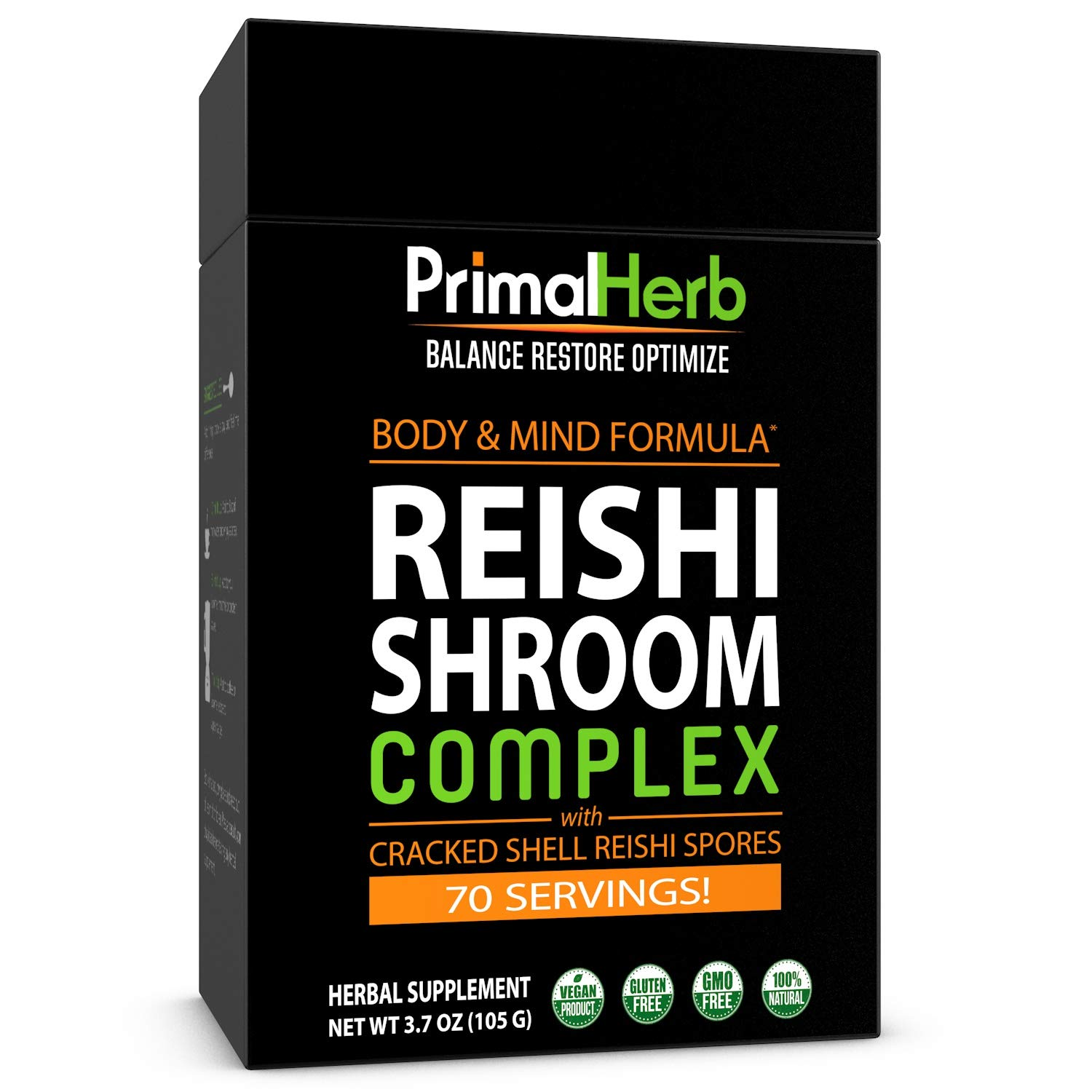 Reishi Mushroom Extract with Reishi Spores | by Primal Herb | Supports Body & Mind | Ganoderma Lucidum Extract Powder Formula | 70 Servings - Includes Bamboo Spoon