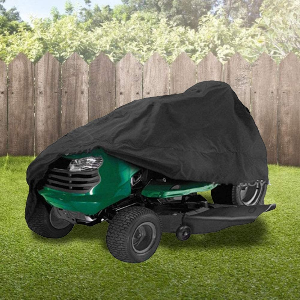 Lawn Mower Cover Waterproof Riding Lawnmower Tractor Cover Heavy Duty 210D Polyester Oxford Mower Dust Cover to fit Decks up to 54in for Indoor Outdoor Garden Protective Storage