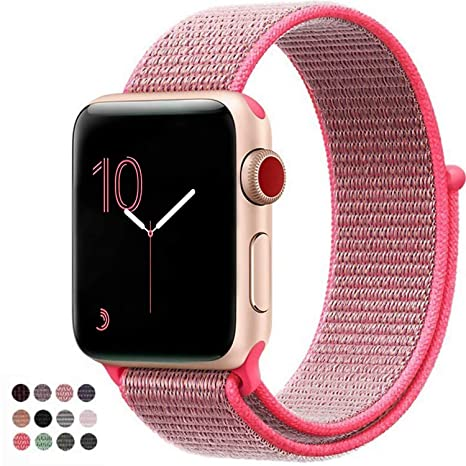 Vati Compatible For Apple Watch Band 38mm 42mm Soft Breathable Nylon Sport Loop Band Adjustable Wrist Strap Replacement Band Compatible For I Watch Apple Watch Series 3/2/1, Sport, Nike+, Edition by Vati