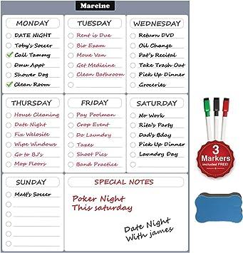 PAPRMA Dry Erase Monthly Calendar Set for Kitchen Refrigerator 1 Marker// Best Smart Planners 16 x 12 Large Magnetic Black Board 2 Erasers
