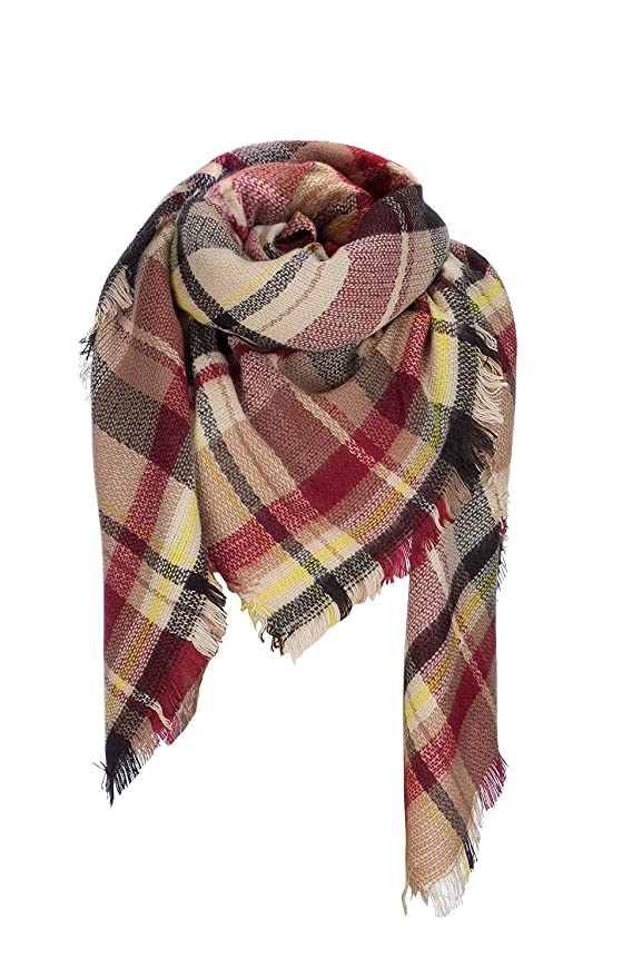 POSESHE Large Tartan Fashion Women Scarf Lovely Best Gift Scarf Wrap Shawl,G Black Claret,One Size