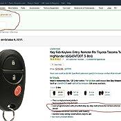 Amazon Com Key Fob Keyless Entry Remote Fits Toyota