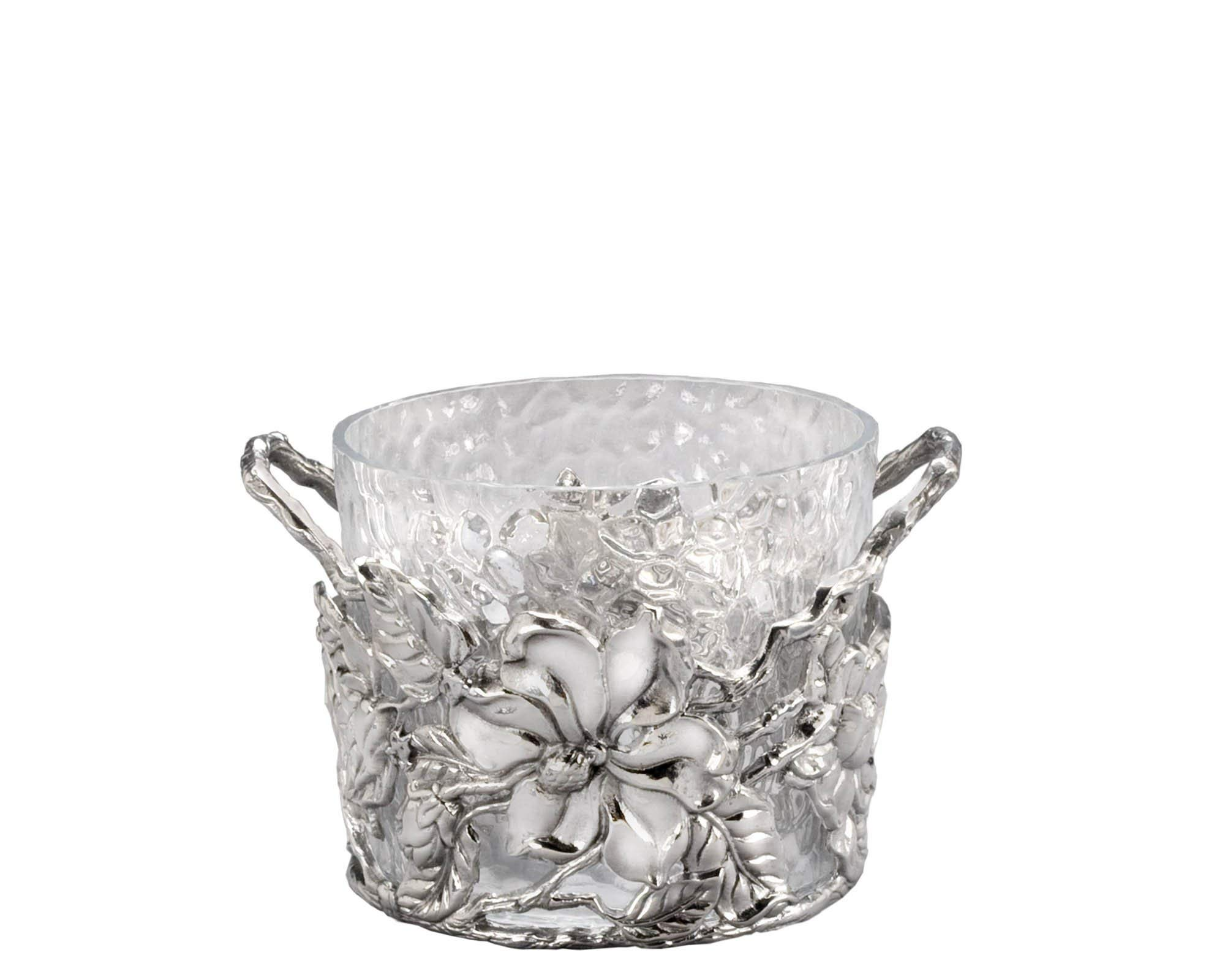 Arthur Court Designs Aluminum Glass Magnolia Ice/Wine Bucket - Diameter 9'' Height: 6''