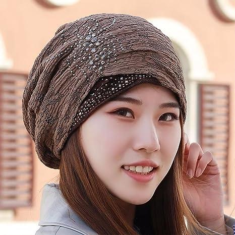 HAPPY-Cap Sombrero Mujer Sombrero de Turbante de Invierno cálido ...
