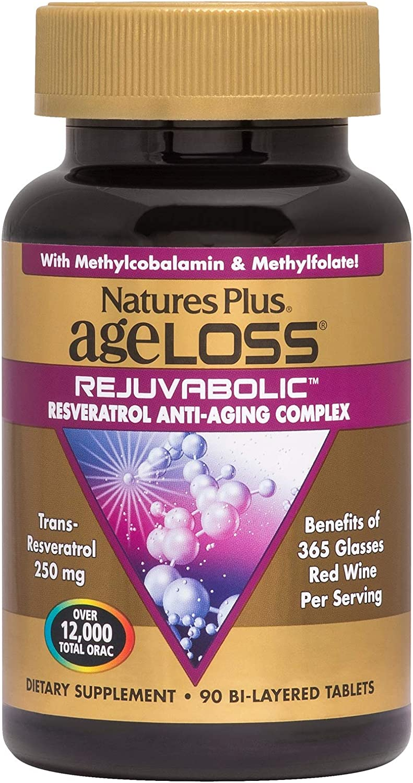 NaturesPlus Ageloss Rejuvabolic Support – 90 Vegetarian Tablets – Anabolic Support Supplement, Antioxidant, Anti-Inflammatory Anti-Aging – Gluten-Free – 30 Servings