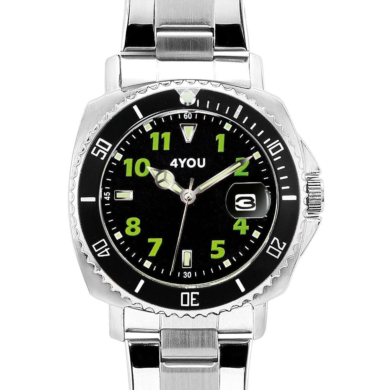 4 YOU Herren-Armbanduhr Analog Quarz Edelstahl 250006003