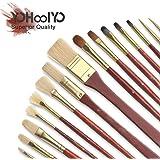 YOHOOLYO 16pcs Paint Brush Set Artist Paint Brushes for Watercolor Oil Acrylic Painting