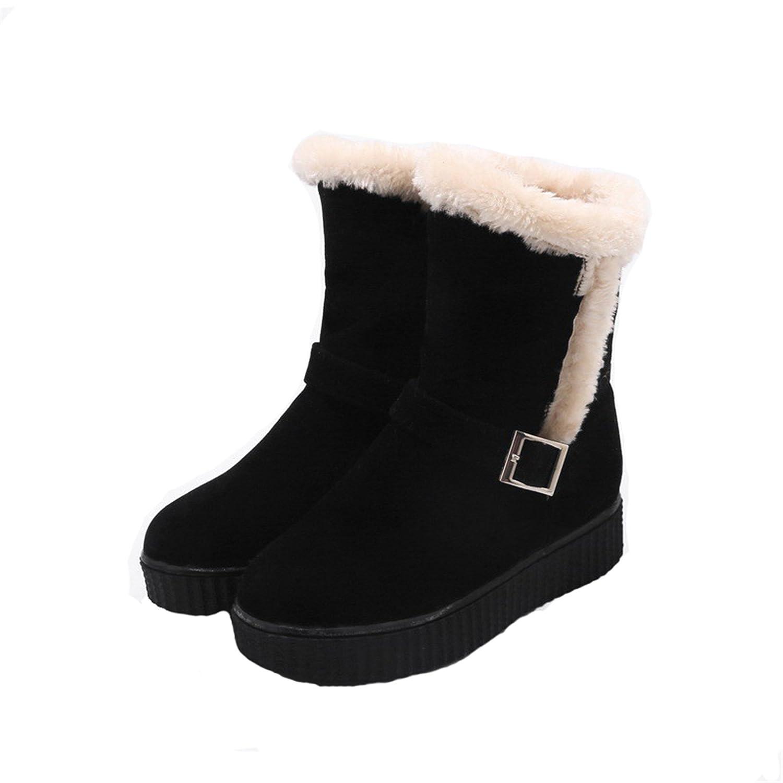 AgeeMi Shoes Femme à Talon Bas Talon Gros Haut Bas Couleur Unie Boucle Bottes Eux94 Noir